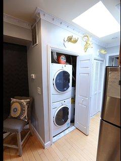 washer and dryer -- skylight hallway