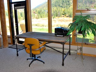 Fantastic mountain views while you work or print your boarding pass!