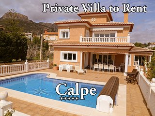 5 Bed 4 bath Det Lux Villa.Calpe.Heated pool jaccussi. Wifi aircon beach 5 mins