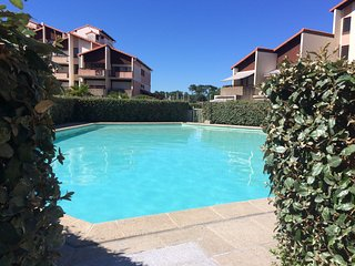 Central studio apartment overlooking Capbreton marina, w/ pool & scenic terrace – minutes from beach