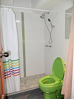 Everything you need at hand in this new bathroom. The shower section has an antislip floor.