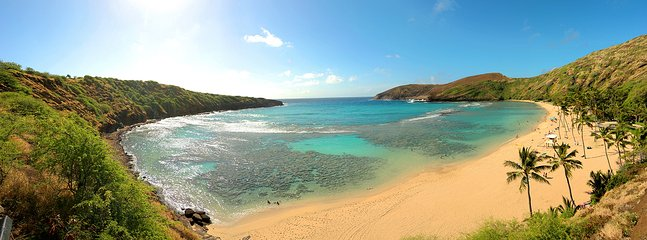Hanauma Bay, a 20 minutes drive,  is famous for excellent snorkeling,