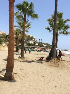 Local blue flag Casares beach, walk the prom to Sabinillas, local still very Spanish orientated town
