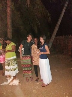 guests visiting village temple with uma and ayesha