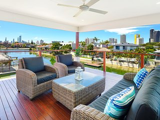 Balcony seating over water and Surfers Paradise skyline