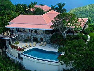 Luxury 5 bedroom Tortola, BVI villa. Private 8-acre hilltop estate with 300-degree bird's-eye view!
