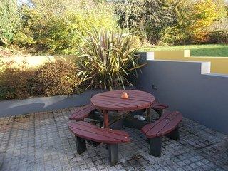 the sunny patio area