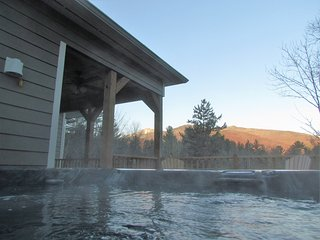 Mountain view from upper deck hot tub.