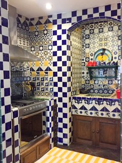Crazy tile pattern in the Casa Cho Co Latte kitchen designed by us!