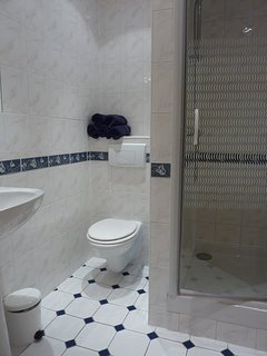 The well co-ordinated modern shower room with heated towel rail