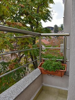 balcony with view of old town across the street