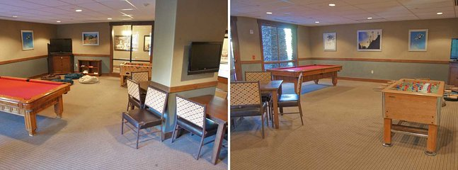 Game Room with Pool Table, Foos Ball Table, and HDTVs