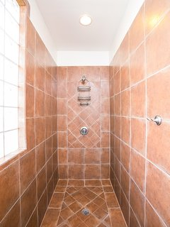 The walk-in shower