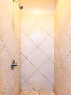 Spacious walk in shower in the master bath