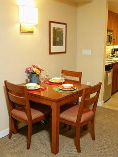 Dining table seats three