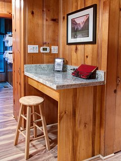 Granite Top Desk with Charging Station