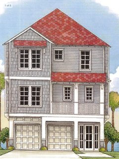 Drawing of Front of 3 Story Gulf Front Home