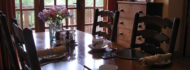 Enjoy  breakfast with wonderful views  of  garden & NT owned Hopesay Hill, on warm weather balcony