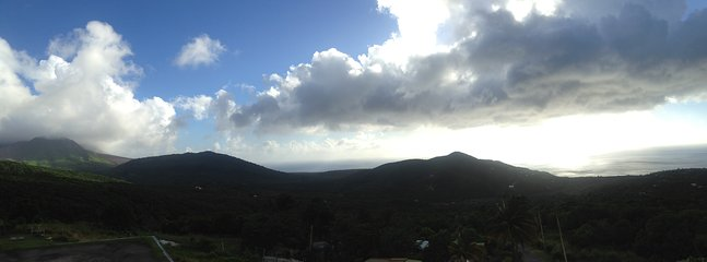 A panoramic view of Plymouth, Isle's Bay, and Salem from the Montserrat Volcano Observatory.(MVO).