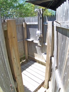 The outdoor shower is a key feature for many Cape vacationers