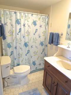 This main level bath has access from the master bedroom and hallway