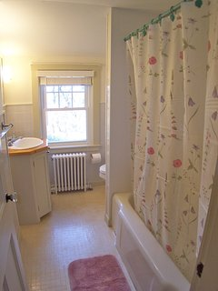 Full bath with tub shower combination, upper level.