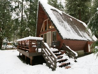 Front of cabin in the snow