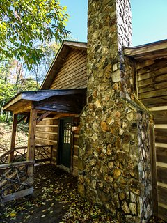 Exterior view of Silverleaf's natural rock chimney.