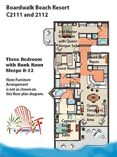 Boardwalk 2111/2112 example floor plan.  Please see our photos and descriptions for actual furniture and placement in...