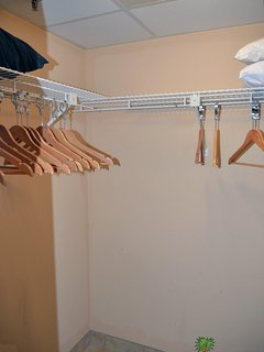 Huge walk in closet in the Captain's Jade Stateroom.  Plenty of room for getting dressed and storing your clothes and...