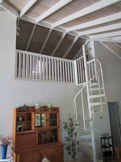 Spiral staircase to loft (3rd bedroom)