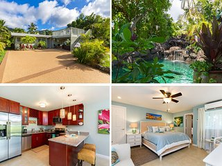 Luxurious Hawaiian Beach House~ Private Pool~Ocean View~ Steps to the Beach~AC!
