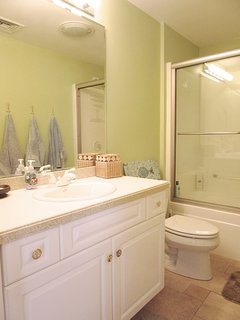 2nd floor bath with tub and shower off hall - 151 Sky Way Chatham Cape Cod New England Vacation Rentals