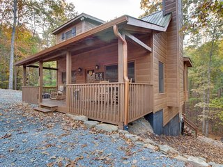 Dog-friendly forest cabin with a hot tub, shared pool, game room, two decks, Ellijay