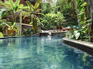 Hotel sized lagoon pool with 2 waterfalls, for a true tropical feel