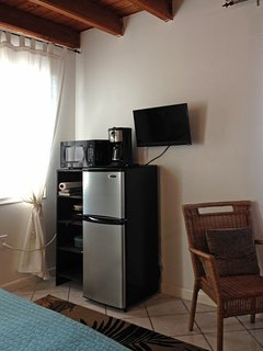 Fridge, microwave, TV, coffee maker