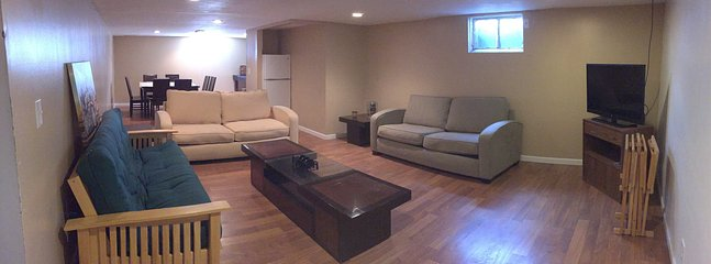 Lower level rec/family room with 2 sofa sleepers and a futon