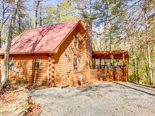 Waterfront, dog-friendly cabin with wraparound deck, firepit, mountain stream