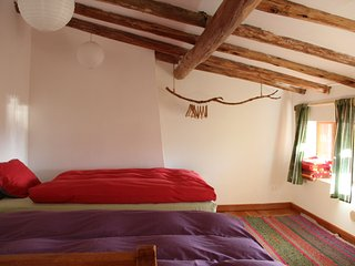 Dormitorio con 2 camas y edredones de plumas.