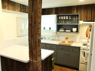 The kitchen, with old wood beam details. Everything you need for a quiet getaway...
