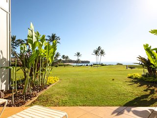 Free midsize car with Poipu Sands 513 Ocean front ground floor 1 bd