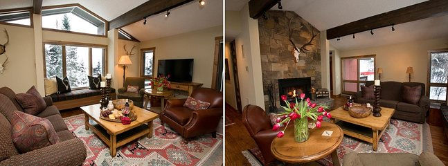 The Upper Living Room has Vaulted Ceilings, Picture Windows, Wood Burning Fireplace.