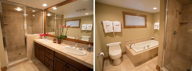 Lower Level King Master Bathroom - Dual Sinks, Steam Shower, & Jacuzzi Tub