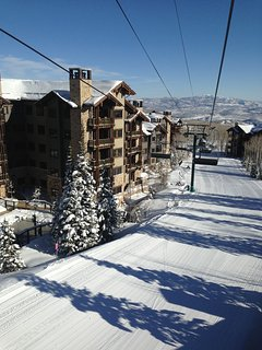 View from skiing down run (condo is on left)