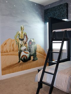 Star Wars suite with Twin over Double with extra Twin trundle bed & private bath