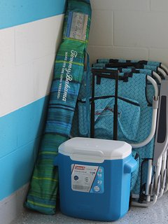 Beach equipment for your use - chairs, cooler and umbrella