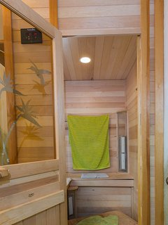 2 seater, far infrared sauna in bathroom