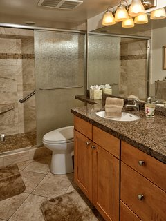 Upgraded bathroom with standing shower