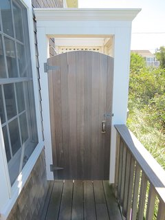 Convenient outdoor shower -- a Cape Cod summer vacation experience not to be missed.