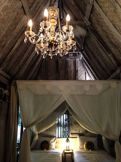 Baby chandelier in the cabin.